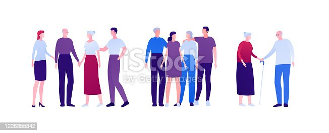 istock Big family relationship and support concept. Vector flat person illustration. Group of men and women embrace and holding hand. Adult and senior people. Design element for banner, infographic, web. 1226355342