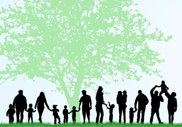 illustrazioni stock, clip art, cartoni animati e icone di tendenza di grande famiglia silhouette - nonna e nipote camminare