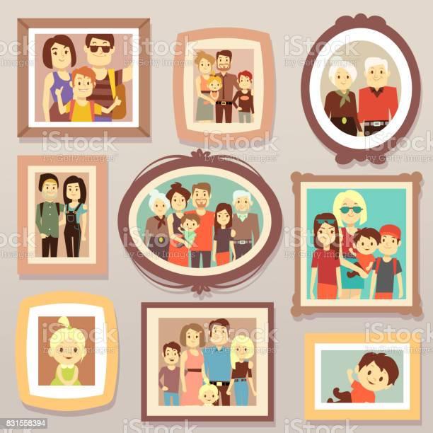 Big family smiling photo portraits in frames on wall vector vector id831558394?b=1&k=6&m=831558394&s=612x612&h=ymdmxwv6tqkk8mr447rvjnhmeal3uygbyacdeghik4c=
