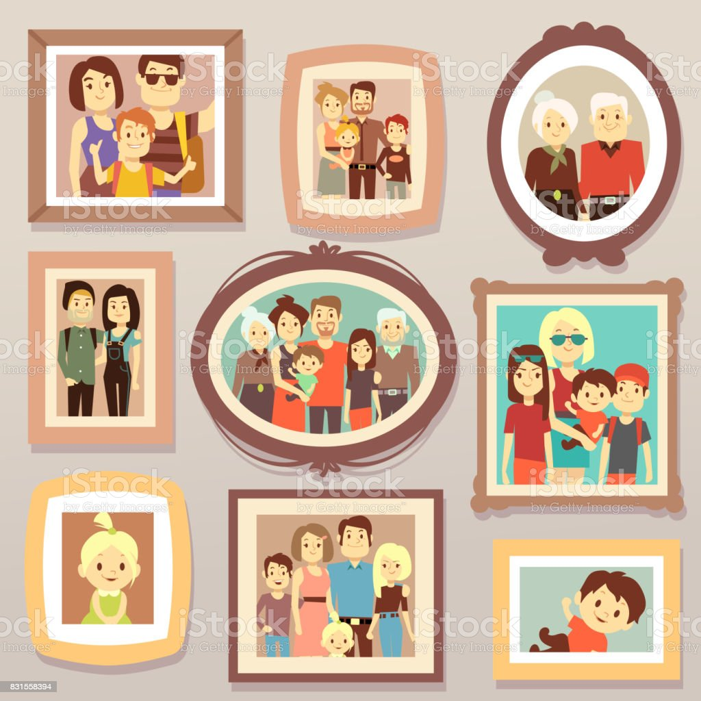 Big family smiling photo portraits in frames on wall vector illustration vector art illustration