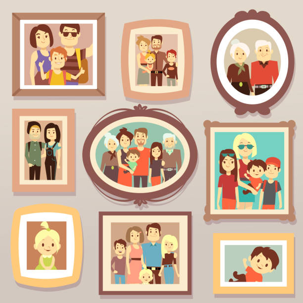big family smiling photo portraits in frames on wall vector illustration - portrait stock illustrations