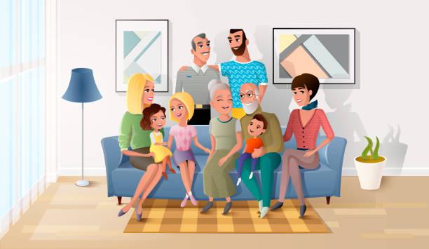 ilustraciones, imágenes clip art, dibujos animados e iconos de stock de gran familia, pasar tiempo juntos en casa vector - nietos