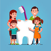 Big family standing next to big healthy molar tooth and holding toothbrush. Teeth cleaning and brushing concept for kids. Flat isolated vector