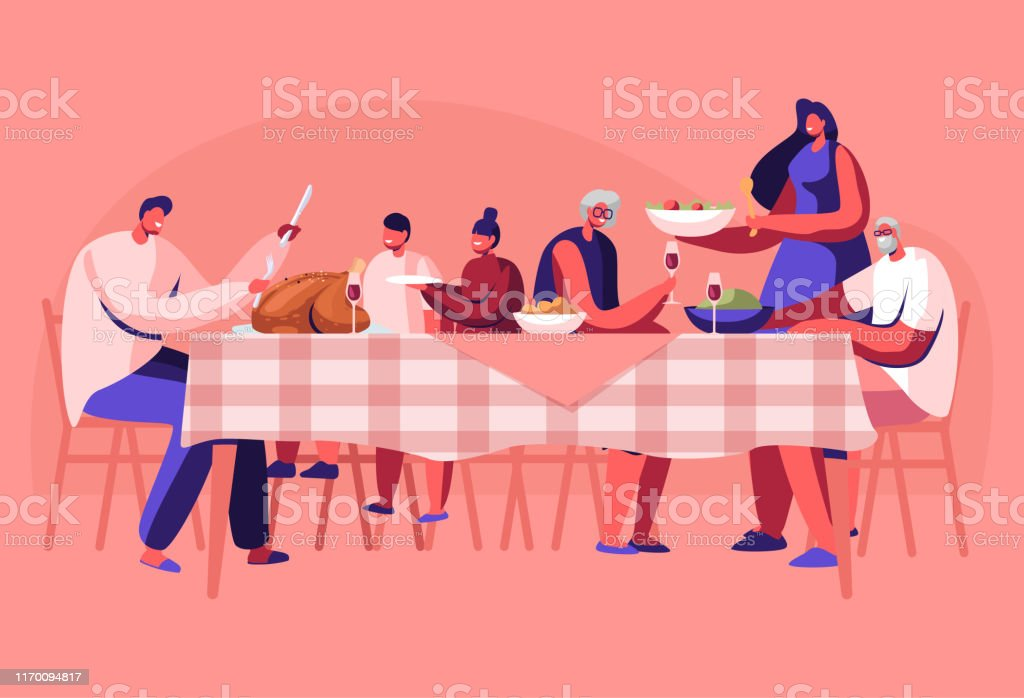 Big Family Thanksgiving Celebration Dinner Around Table with Food. Happy People Eating Meal and Talking Together, Cheerful Characters Group During Festive Lunch. Cartoon Flat Vector Illustration - Grafika wektorowa royalty-free (Dorosły)