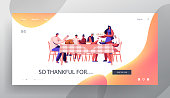 Big Family Thanksgiving Celebration Dinner Website Landing Page. Happy People Sitting Around Table with Festive Food. Parents and Children Generations Web Page Banner. Cartoon Flat Vector Illustration