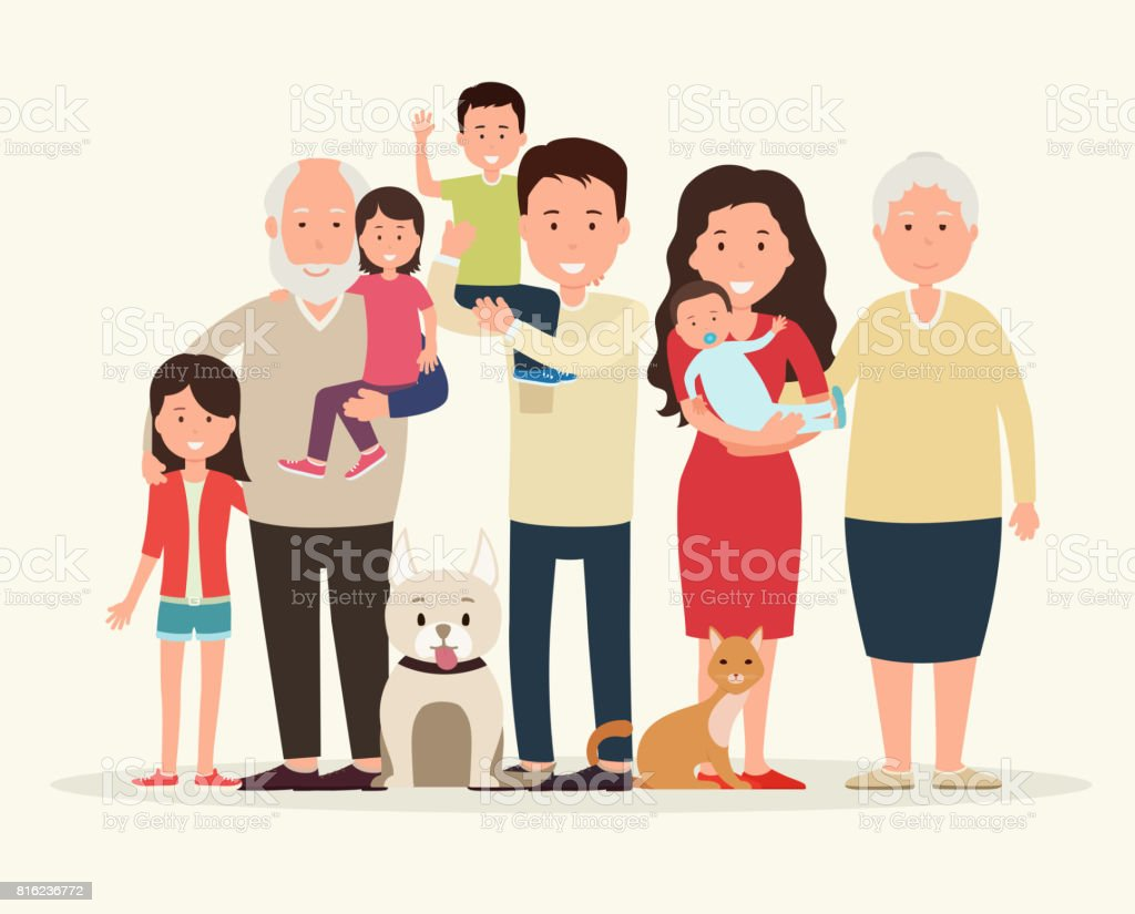 Big family together. Parents and children, grandparent along with the animals. vector art illustration