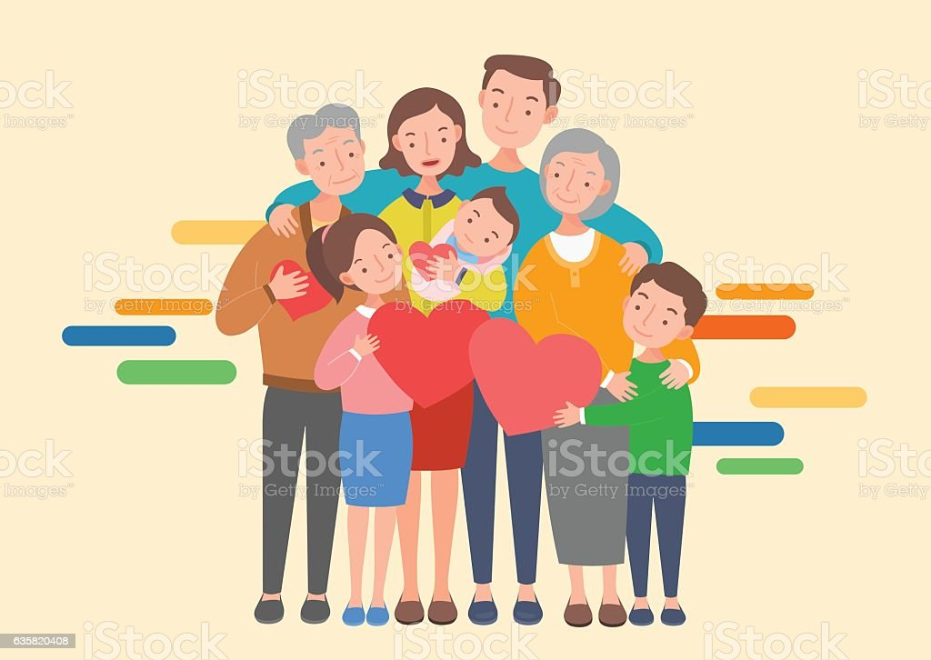 Big family together. Vector illustration of a flat design - ilustración de arte vectorial