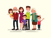 Big family together. Vector illustration