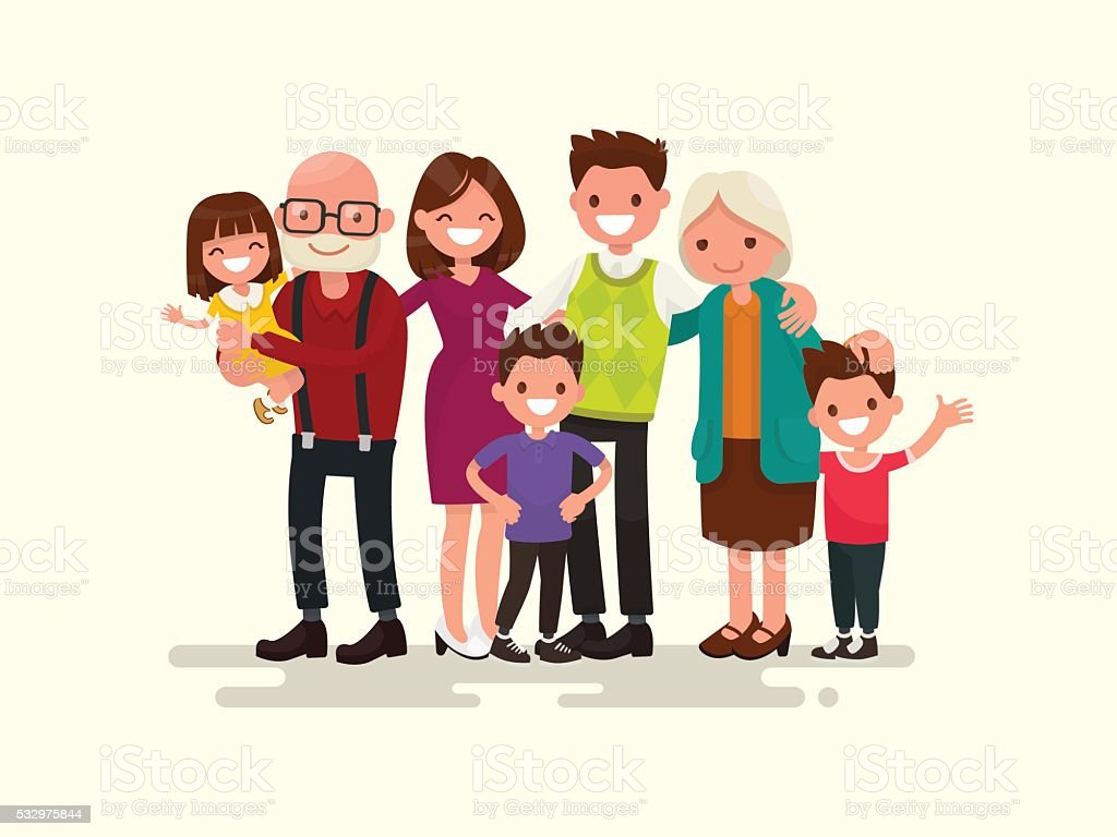 Big family together. Vector illustration vector art illustration