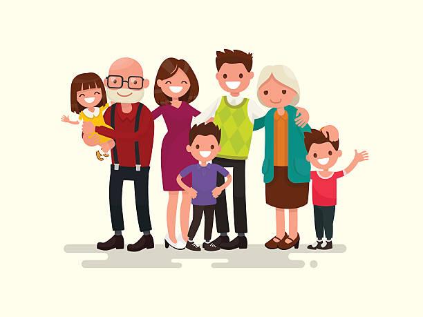 illustrazioni stock, clip art, cartoni animati e icone di tendenza di grande famiglia. illustrazione vettoriale - grandparents