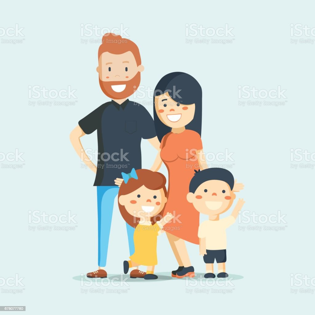 Big family together. Vector illustration vector art illustration