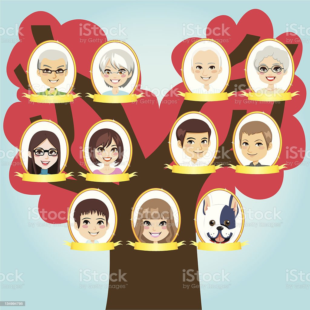 Big Family tree vector art illustration
