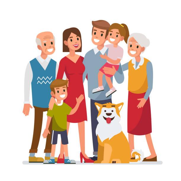 ilustraciones, imágenes clip art, dibujos animados e iconos de stock de familia grande  - nieta