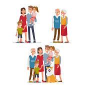 Big family portrait  with children, parents, grandparents and pet. Flat style vector illustration isolated on white background.