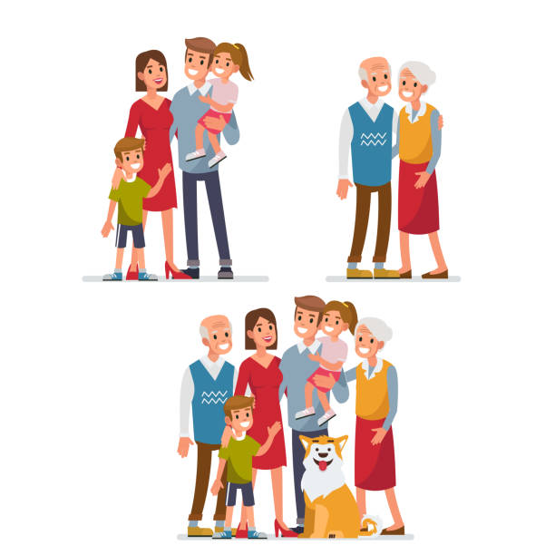 Big family vector art illustration