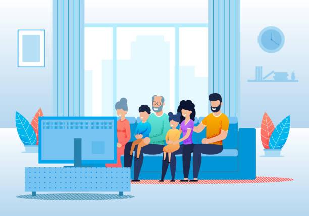 Große Familie schaut im Wohnzimmer zusammen – Vektorgrafik