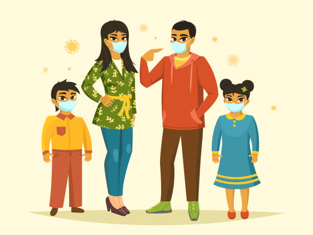 Big family wearing surgical mask, Coronavirus protection, vector illustration Full-length portrait of big family wearing surgical mask, Coronavirus protection in public place, horizontal vector illustration indian family stock illustrations