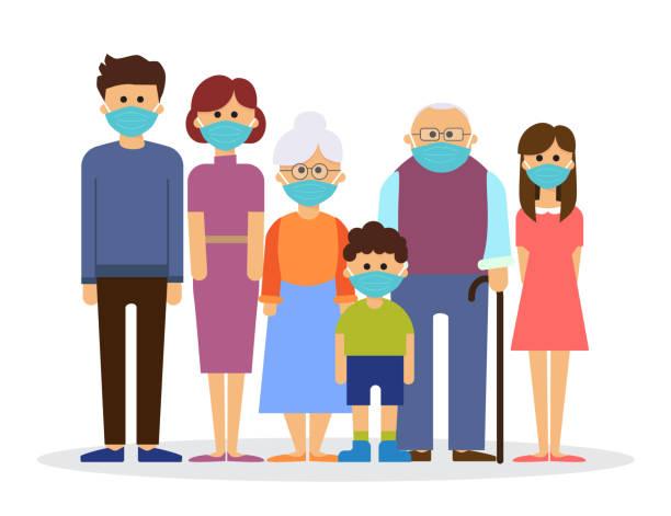 big family wearing with medical mask to prevent virus, vector illustration vector art illustration