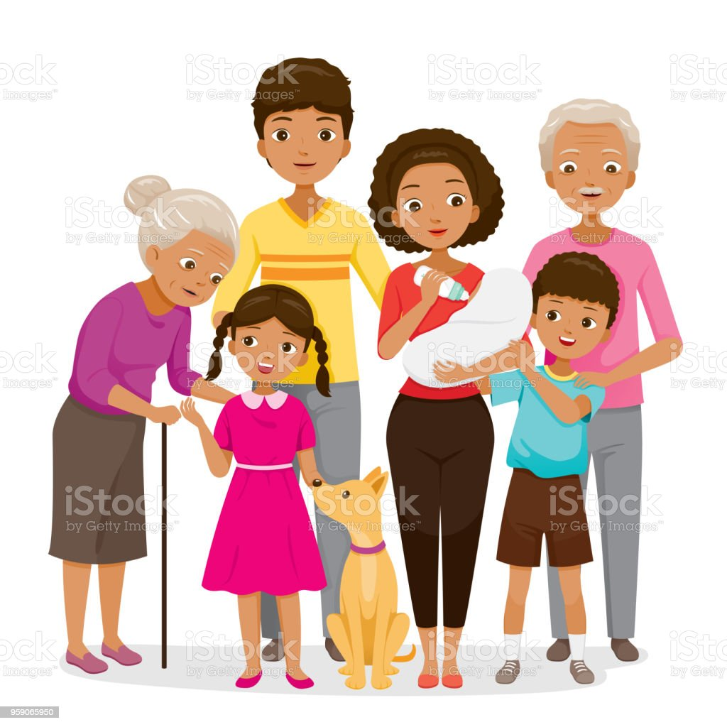 Big Family With Dark Skin Happy Together vector art illustration