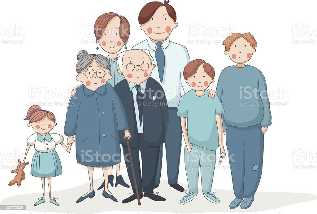 Big family with grandparents, parents and children vector art illustration