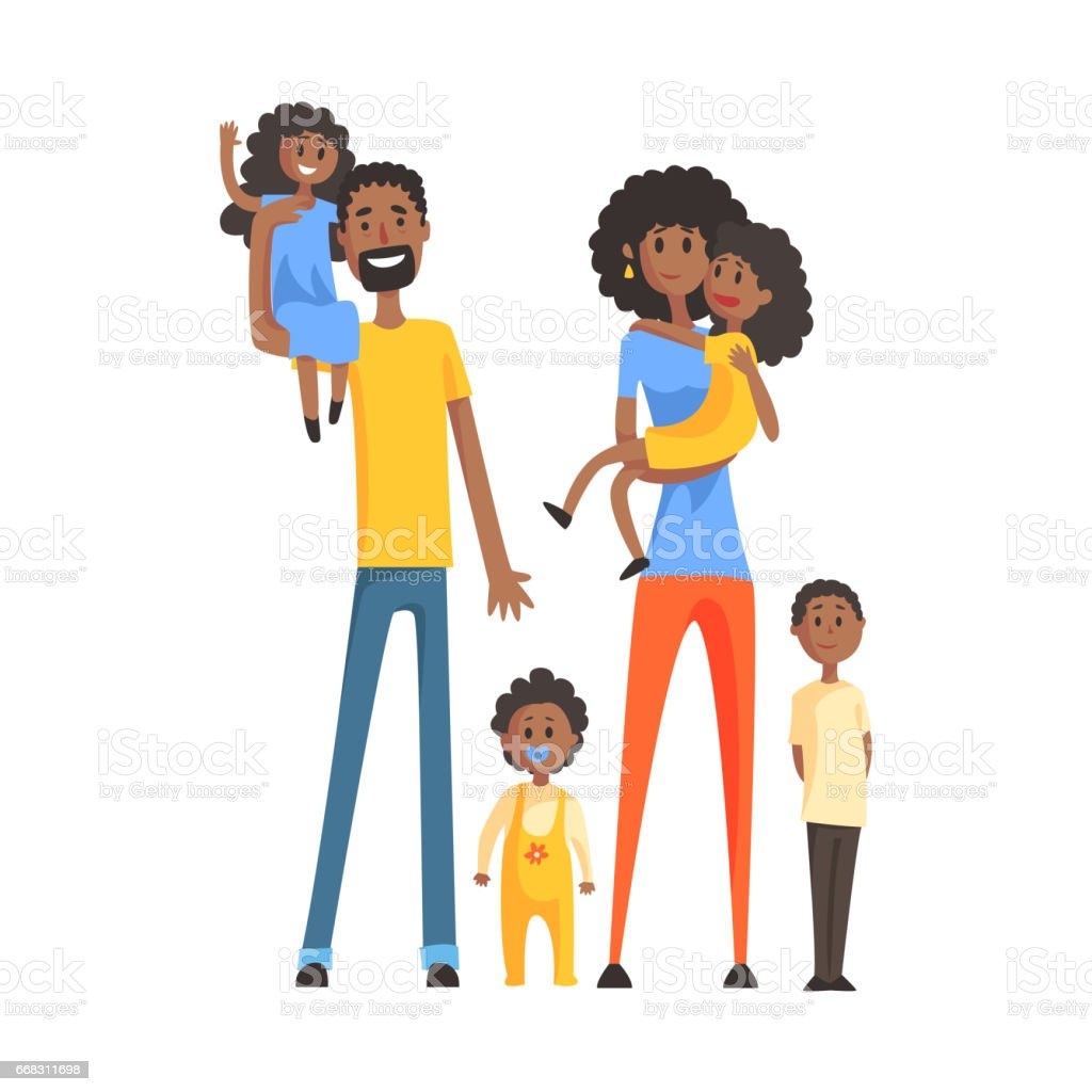 Big Family With Parents And Four Kids,Part Of Family Members Series Of Cartoon Characters vector art illustration