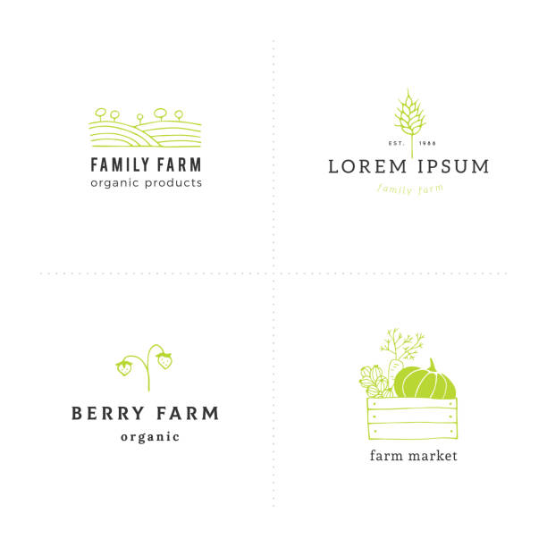Big farm label templates set. Vector hand drawn objects. Big set of hand drawn label templates. Isolated vector symbols for business branding and identity. Farm and organic food theme. For farmers markets, fairs, berry farms and grocery stores. agricultural fair stock illustrations