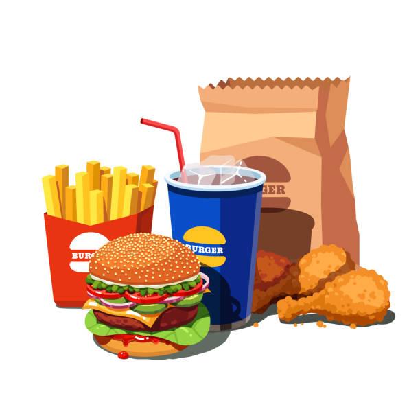 美國漢堡、軟飲料杯、法式薯條和炸雞腿的大速食。平面式向量 - 不健康飲食 幅插畫檔、美工圖案、卡通及圖標