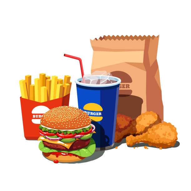 ilustrações de stock, clip art, desenhos animados e ícones de big fast food set with american burger, soft drink cup, french fries and fried chicken legs. flat style vector - gordura