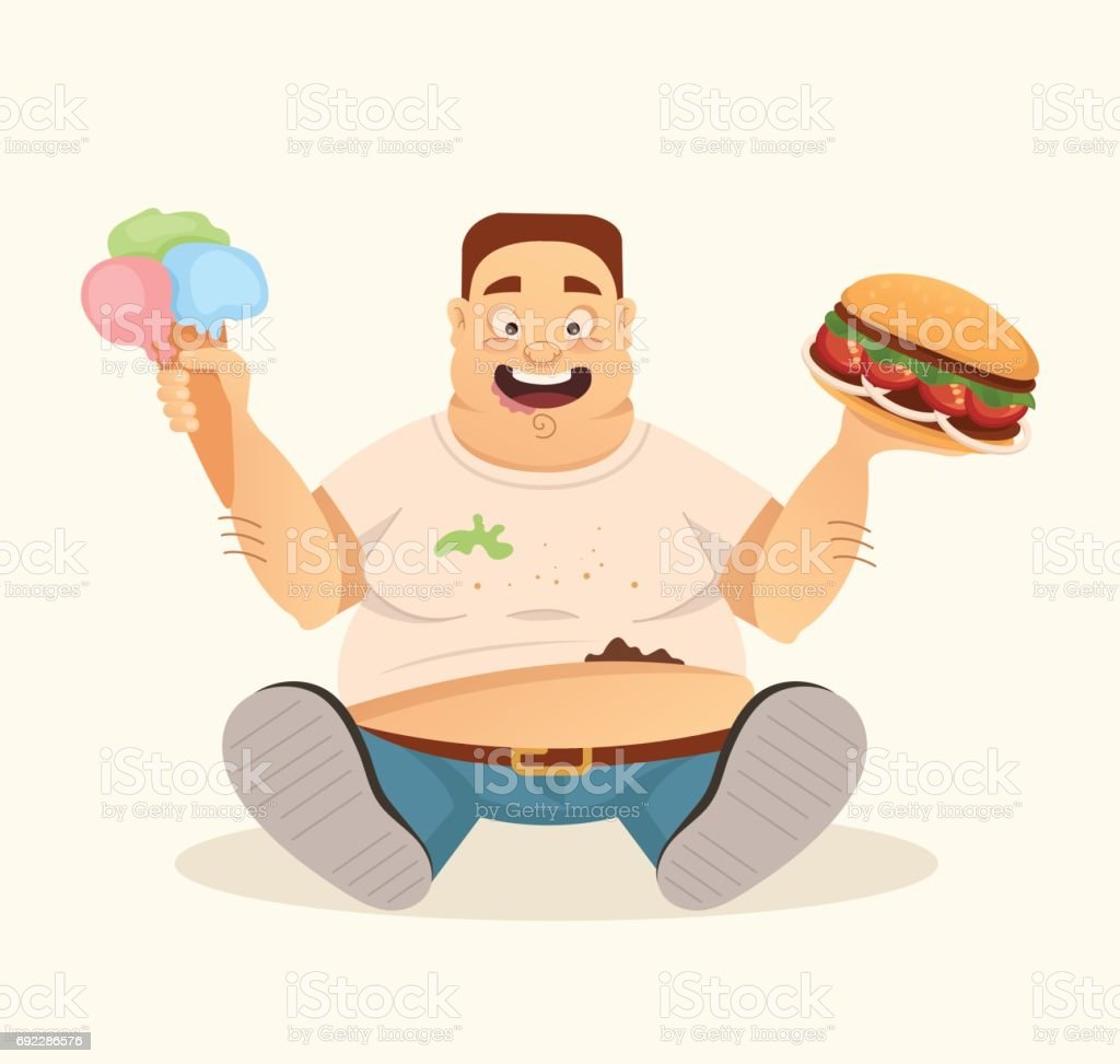 Big fat happy smiling man character mascot eating hamburger and ice cream fast food vector art illustration