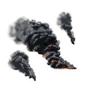 Big fire smoke set in vector