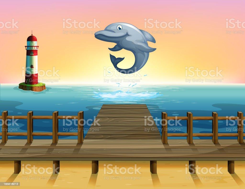 big fish at the port vector art illustration