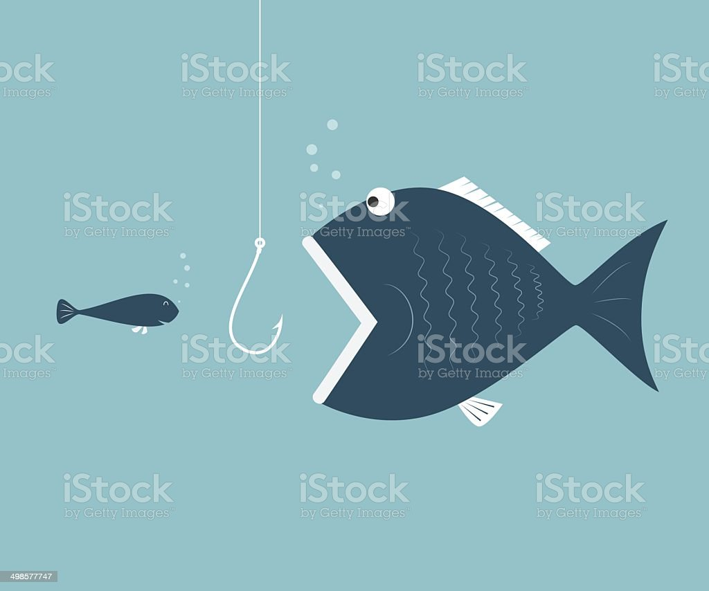 Big fish eat little fish. Concept of Saving oneself vector art illustration