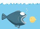 Big fish eat little fish. concept. vector