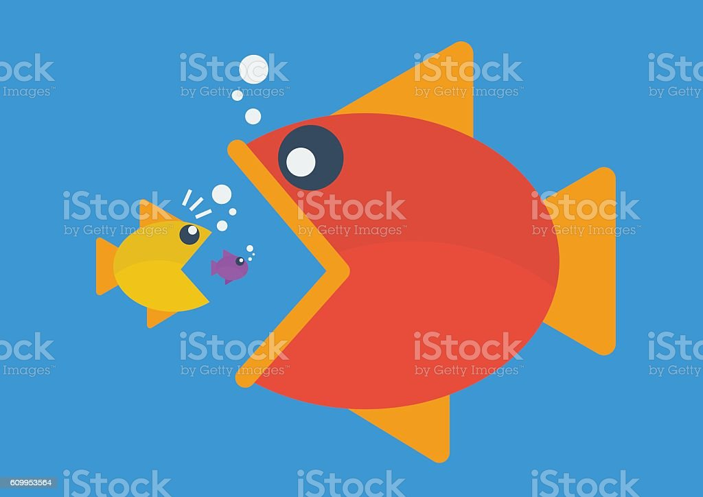 Big fish eat little fish. Flat style vector art illustration