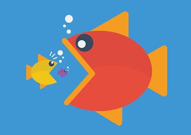big fish eat little fish. flat style - groß stock-grafiken, -clipart, -cartoons und -symbole