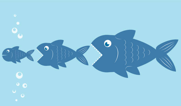 Royalty Free Silhouette Of The Big Fish Eating Small Fish Clip Art