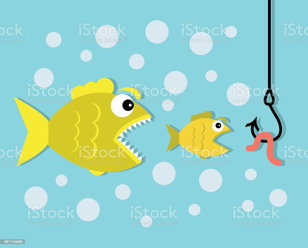 Big fish eat little fish, hook and worm bait vector art illustration
