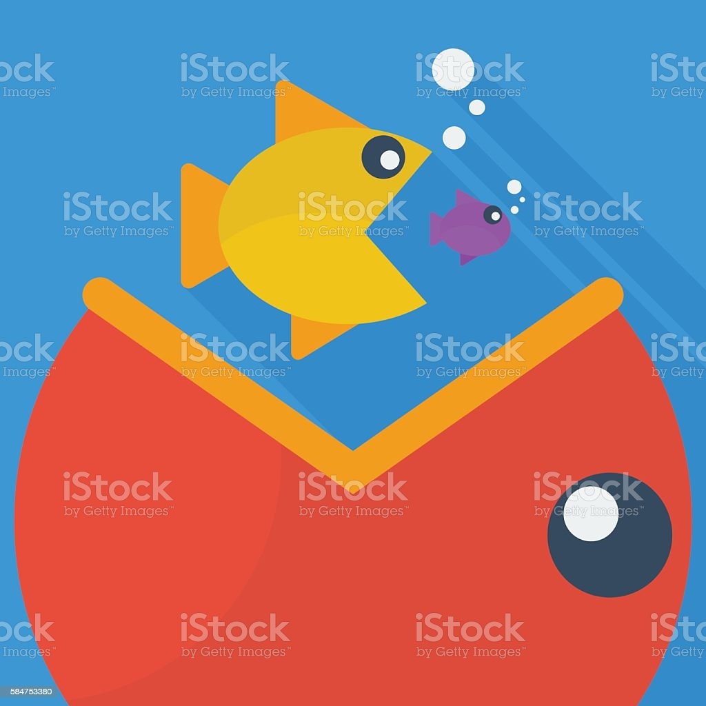 Big fish eat little fish vector art illustration