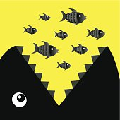 Vector of Big fish eat group of small fishes.