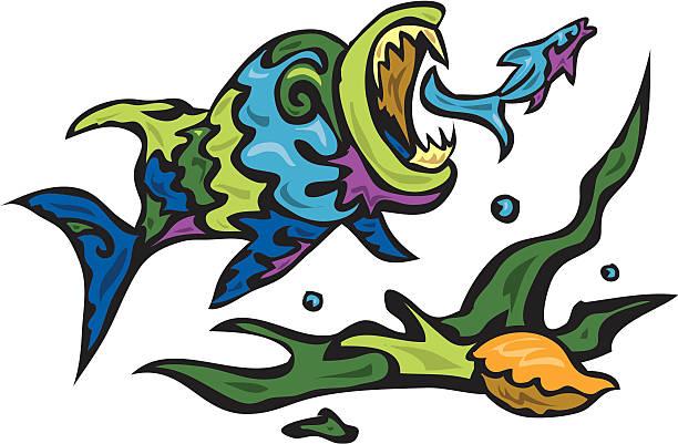 big fish eats little minnow vector art illustration