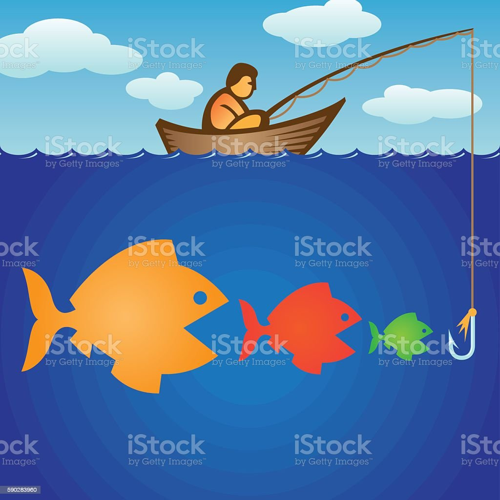 Big fish eats small fishes stock vector art more images for Big fish eat little fish