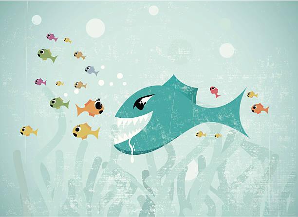 big fish eats small - lake superior stock illustrations, clip art, cartoons, & icons