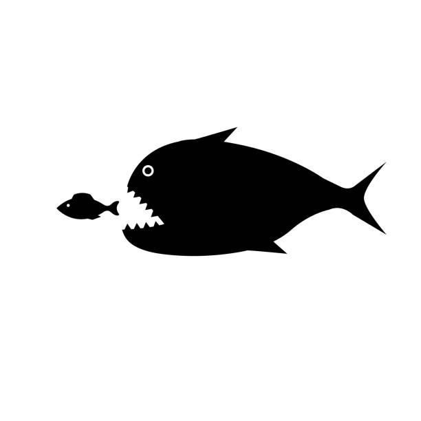 Best Silhouette Of The Big Fish Eating Small Fish ...