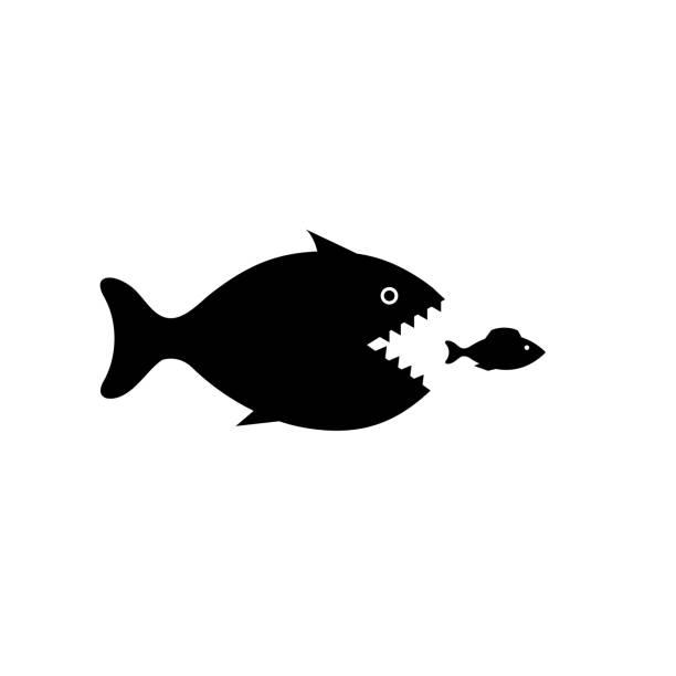 stockillustraties, clipart, cartoons en iconen met grote vissen pictogram op witte achtergrond - klein