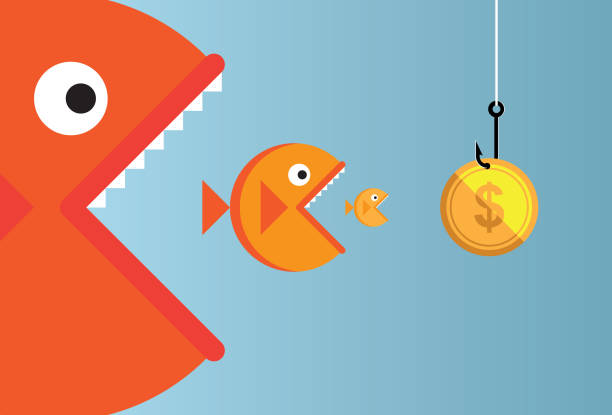 stockillustraties, clipart, cartoons en iconen met grote vissen - klein