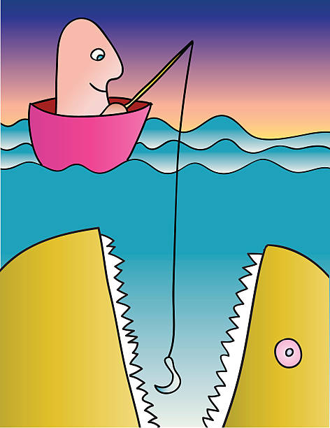 big fish - haifischköder stock-grafiken, -clipart, -cartoons und -symbole