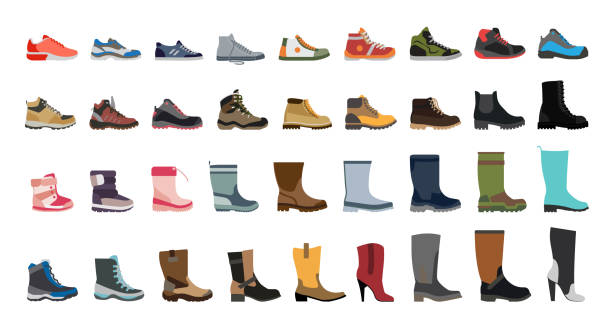 Big flat icon collection of men's, women's and children's footwear. Stylish and fashionable shoes, sneakers and boots. shoe stock illustrations