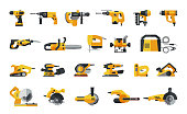 Big flat icon collection of power electric hand tools.