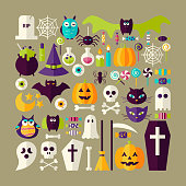 Big Flat Style Vector Collection of Halloween Holiday Objects. Set of Scary October Autumn Halloween Holiday Colorful Objects. Bundle of Tricks and Treats Items. Design Elements