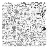 Big food sketch set, doodle drawings of food